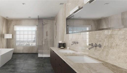 Baño de marmol crema