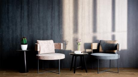 Rincón estilo industrial con muebles de diseño