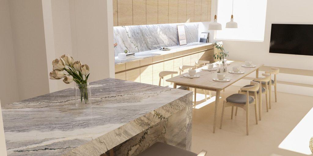 Naturamia® Nuvolato quartzite countertop and backsplash