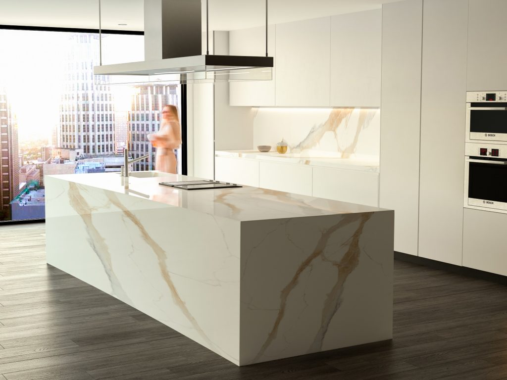 Techlam® Top Marvel Gold in a white modern kitchen