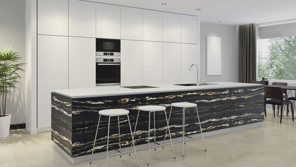 Naturamia® Tropical Storm exotic stone in a white kitchen