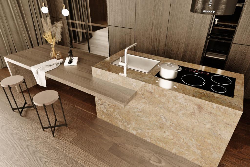 Naturamia® Staccato granite kitchen island.