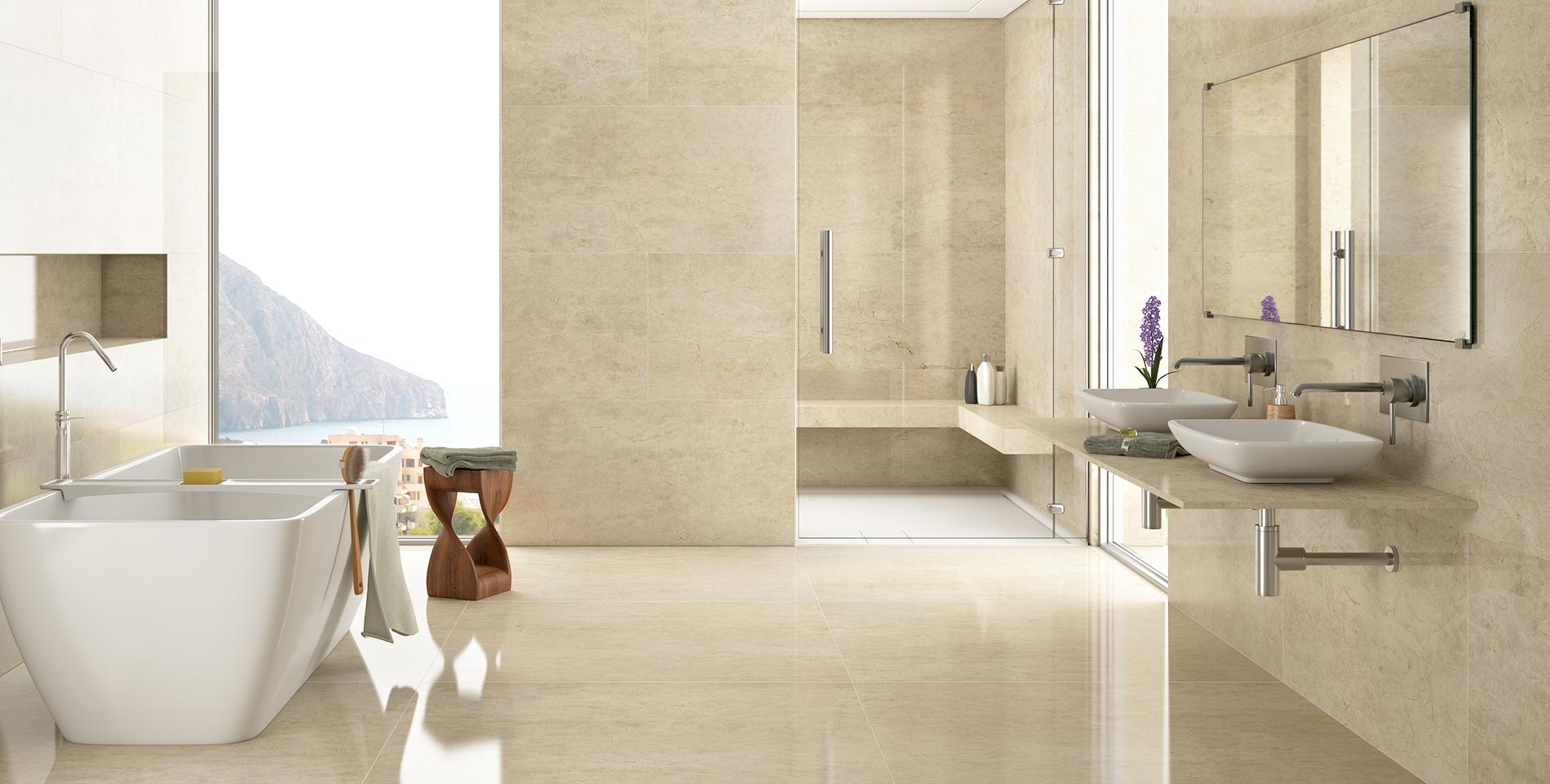 Cream Marble Bathroom