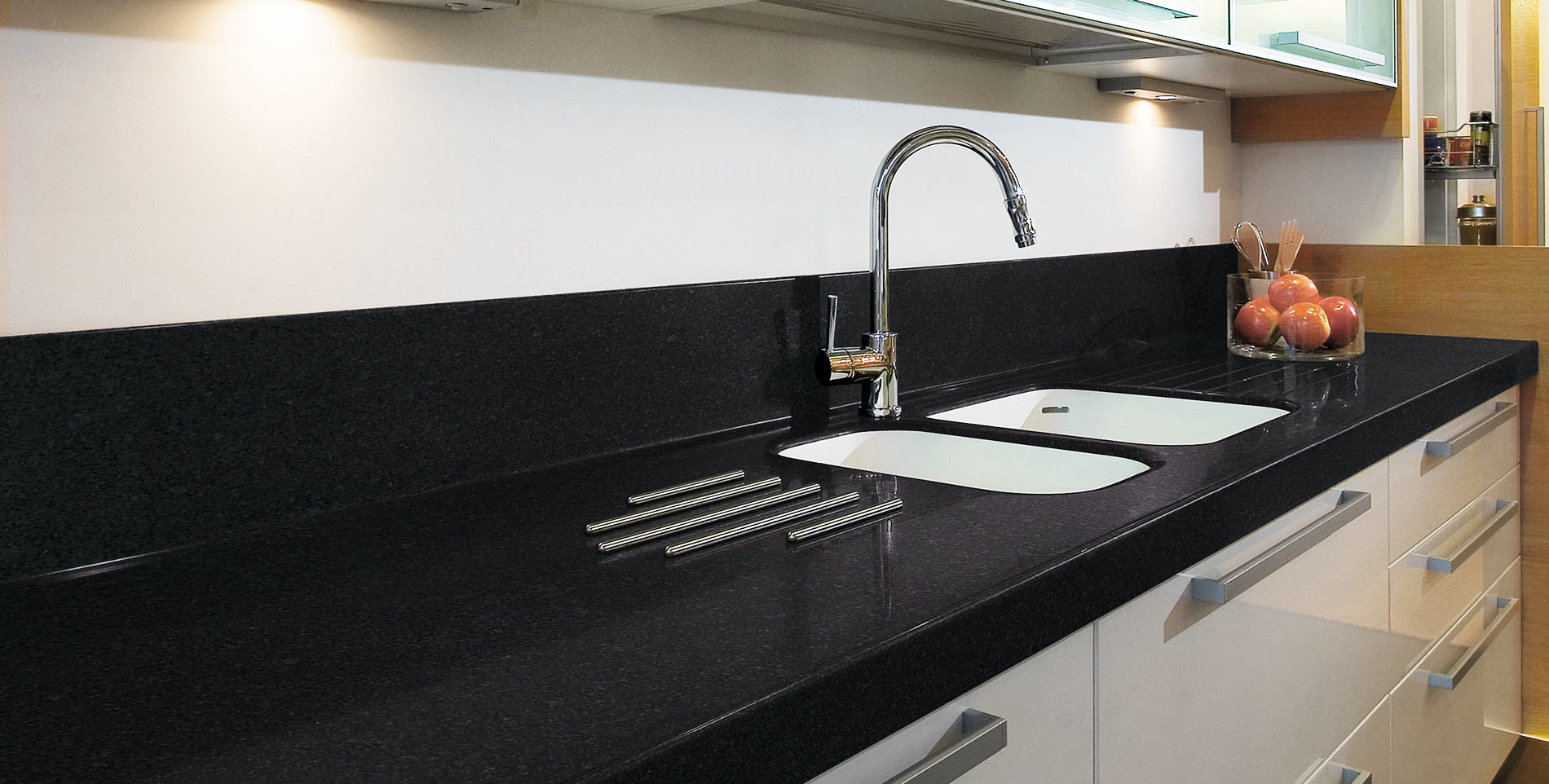 Levantina encimera de cocina negra Cocina blanca encimera granito negra