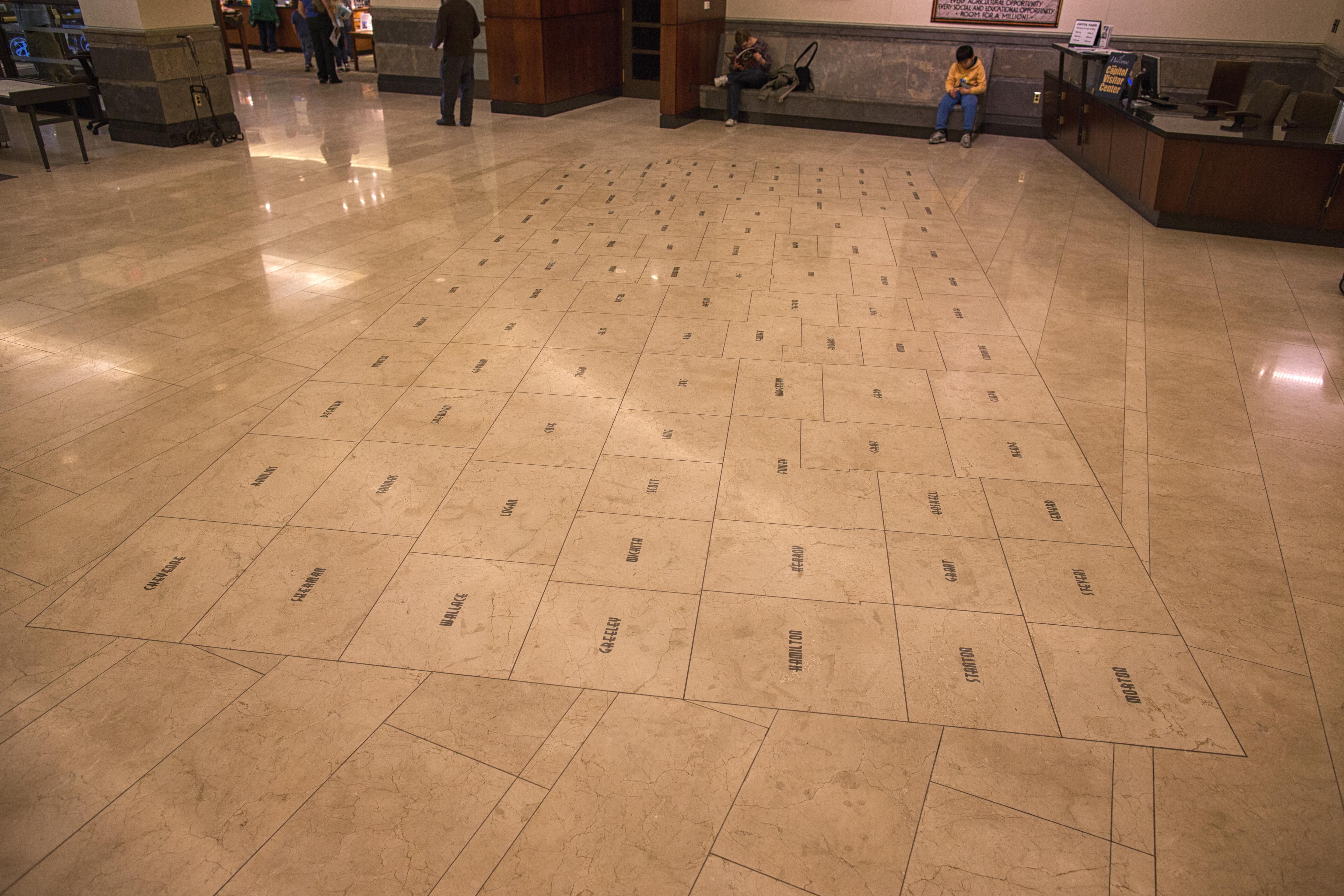 Kansas map kansas state capitol cream marble project for Flooring topeka